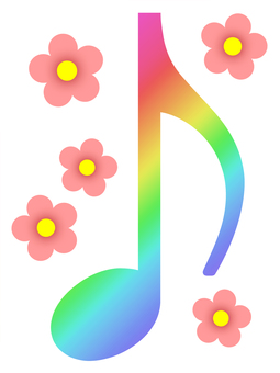 Rainbow color musical note wallpaper image simple background material illustration