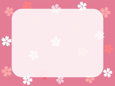 Cherry blossoms frame white space