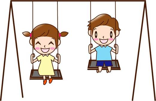 Children (man and woman) playing on the swing