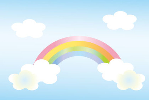 Rainbow and clouds and the sky