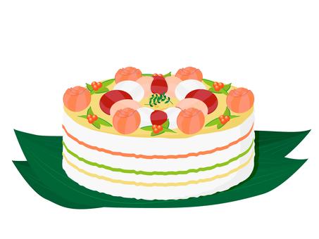 Chirashi sushi cake