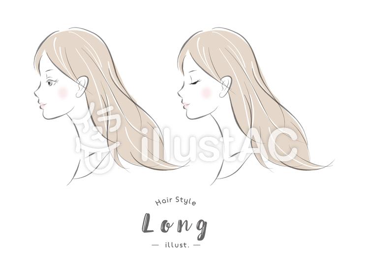 ヘアスタイル ロング 女性 横顔イラスト , No 1134457/無料