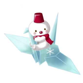 Paper crane and snowman