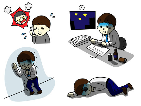 Illustration of a male collapsed by overwork