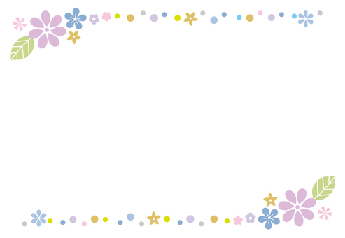 Small floral decorative frame blue