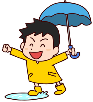 Illustration of a boy playing in a puddle