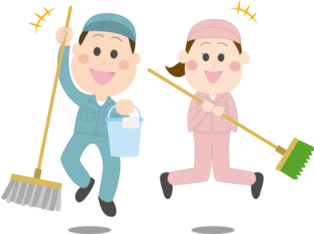 Men and women cleaning up to jump