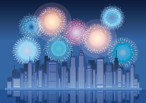 Background illustration of big city and fireworks