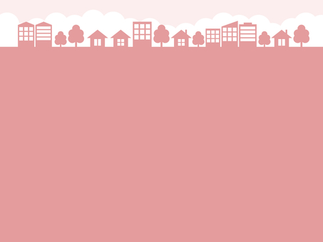 Cityscape silhouette pink frame