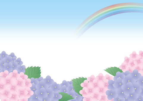 Hydrangea and rainbow frame 2