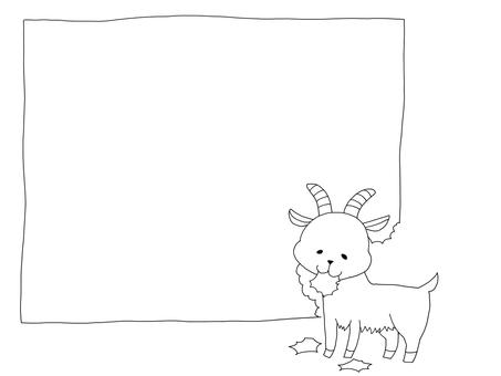 Hand-drawn-style goat frame