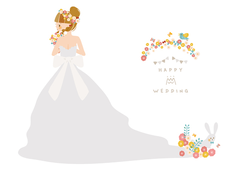 Flowers and wedding dress
