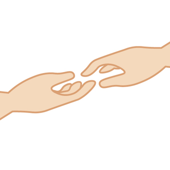 Hold hands and reach out image