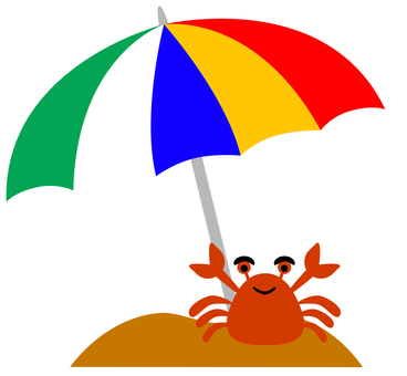 Seaside umbrellas and crabs
