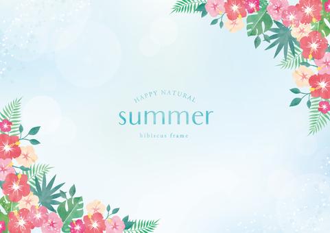 Summer background frame 060 hibiscus