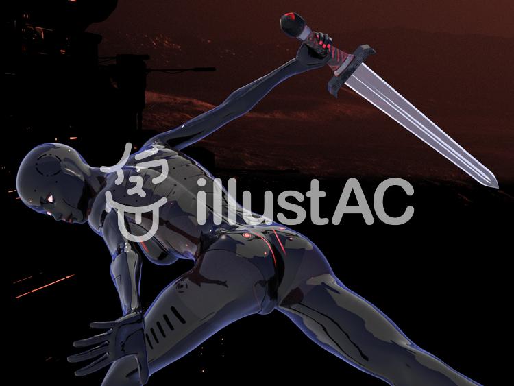 クリスタルの剣で戦うアンドロイド・レディのイラスト