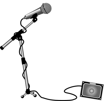 Microphone stand, with speaker