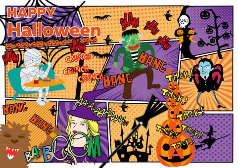 American comic style Halloween