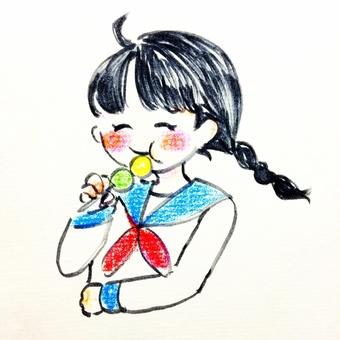 Girls eating dumplings