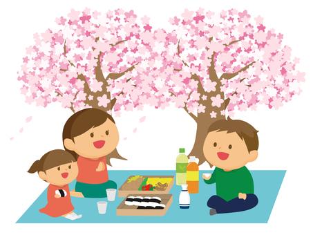 꽃놀이를하는 가족