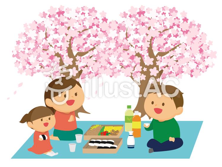 お花見をする家族のイラスト