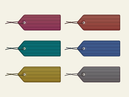 Set of color leather tags