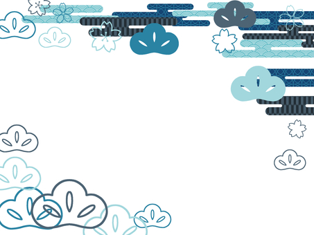 Japanese style cherry blossoms and pine blue