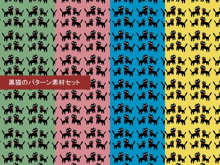 Black cat pattern material set