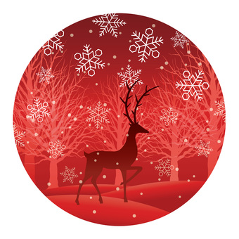 Illustration of winter forest and reindeer