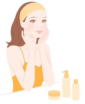 Skin care women yellow