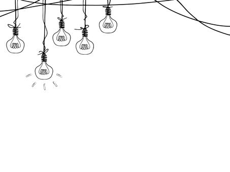 白熱電球 線画背景イラスト(黒色)