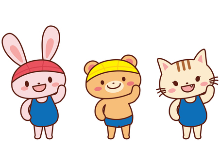 Rabbit _ cat _ bear _ swimsuit (school)