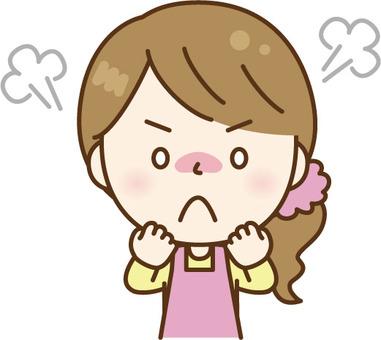 Angry apron woman pink
