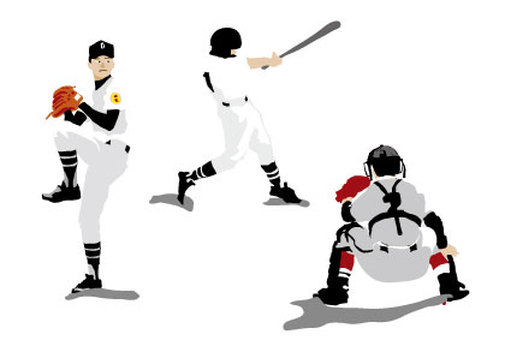 Baseball pitcher, batter and catcher