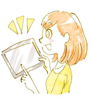 태블릿과 여성 2