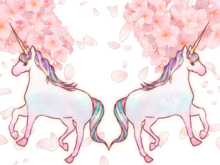 Unicorn and cherry blossom