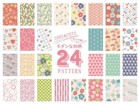 성인 귀여운 현대적인 일본식 디자인 24 패턴