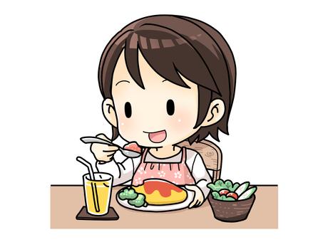 ランチを食べる人