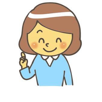 Female finger pointing pose