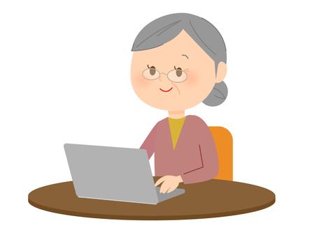 Grandma using laptop