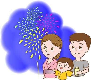 불꽃 놀이를 보는 가족