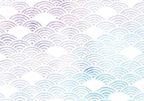 Summer color Japanese pattern Qinghai wave frame