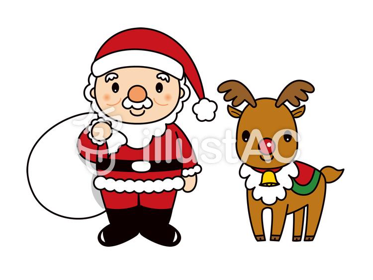 サンタクロースとトナカイ クリスマスのイラスト