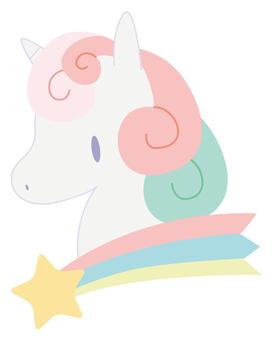 Shooting star and unicorn (winding hair)