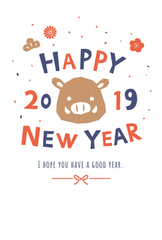 Simple illustrations [New Year card / Vertical]