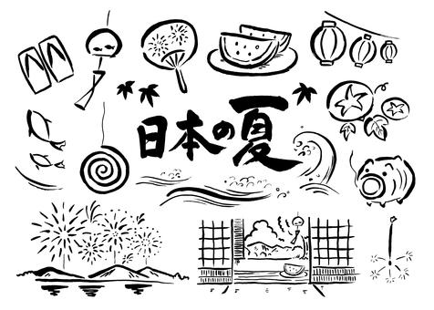 筆書きの日本の夏