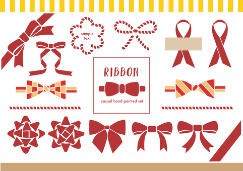 Casual ribbon Hand-painted illustration material