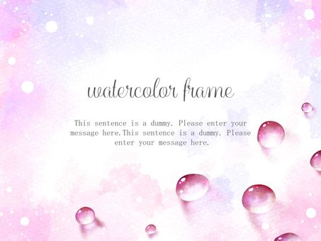 Watercolor water drop frame / pink