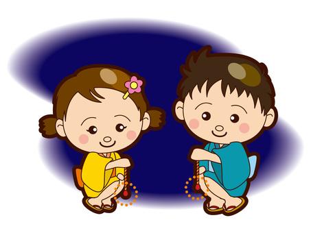 Children playing sparklers