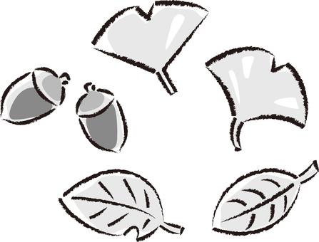 Autumn - fallen leaves 01 - gray